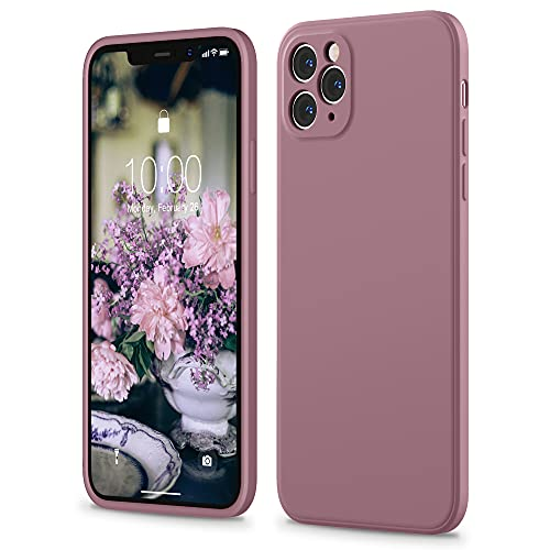 SURPHY Funda Silicona Líquida de Goma Compatible con iPhone 11 Pro 5.8, iPhone 11 Pro Carcasa con Borde Plano, Funda para Silicona Teléfono Anti-rañazos de 5.8 Pulgadas para iPhone 11 Pro, Lila Morado