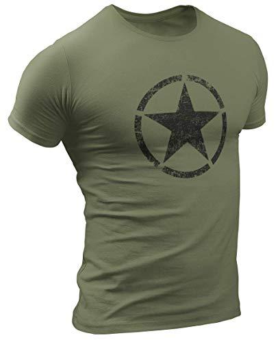 US Army Retro Vintage Star Herren T-Shirt (M, Militargrün)