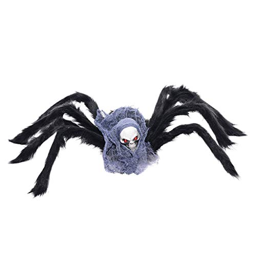 catyrre Halloween Simulation Spider, Halloween Geisterkopf Spider Scary Doll Ornaments for Lawn Garden Haunted House Props Holiday Party Dekoration