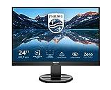 Philips 240B9 - Monitor WUXGA de 24 Pulgadas, Altura Regulable (1920 x 1200, 75 Hz, VGA, HDMI, DisplayPort, USB Hub), Color Negro