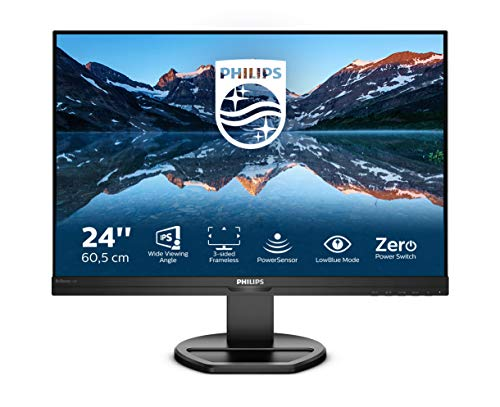 Philips 240B9 - Monitor WUXGA de 24 Pulgadas, Altura Regulable (1920 x 1200, 75 Hz, VGA, HDMI, DisplayPort, USB Hub), Color Negro