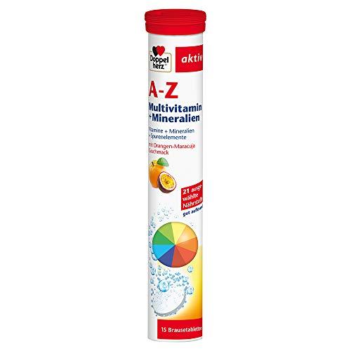 Doppelherz A-Z Brausetabletten mit Orange-Maracuja Geschmack – Multivitamin-Nahrungsergänzungsmittel mit vielen wichtigen Vitaminen, Mineralstoffen & Spurenelementen – 1x15 Brausetabletten (1 Packung)