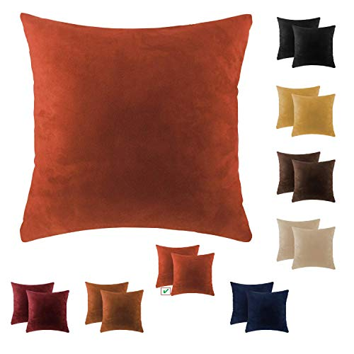 PreciousHome Couch Pillows Set of 2 - Soft Rust Orange Throw Pillows for Couch Sofa, Suede Decorative Throw Pillow Covers 18x18 Throw Pillows Covers, Sofa Decorative Pillows for Couch