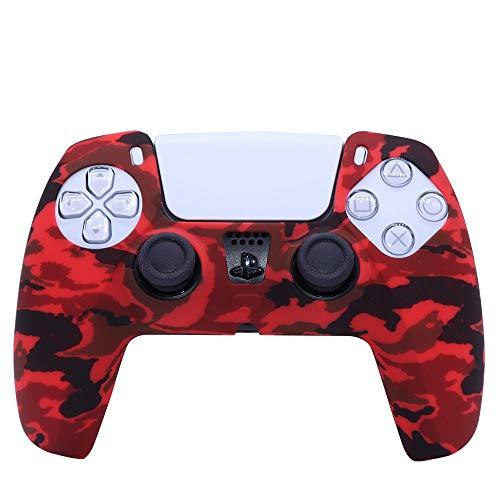 A capa de silicone é adequada para PS5, TwiHill, capa de silicone para gamepad, capa de camuflagem com marca d'água, capa de proteção, tinta spray, capa de aquarela, acessórios PS5 (Vermelho)