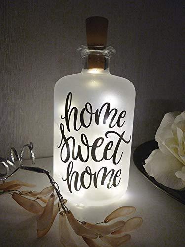 AScreativ Dekoflasche mit Beleuchtung - Home Sweet Home LED Leuchte Leuchtflasche Bottlelight Lichterkette Geschenk Flaschenlicht Homedeco modern