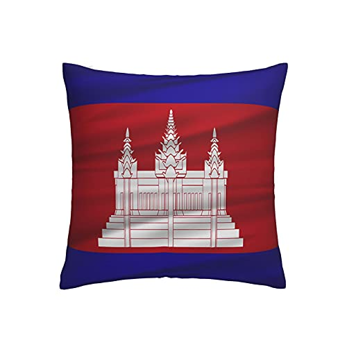 Kissenbezug mit Kambodscha-Flagge, quadratisch, dekorativer Kissenbezug für Sofa, Couch, Zuhause, Schlafzimmer, für drinnen & draußen, 45,7 x 45,7 cm