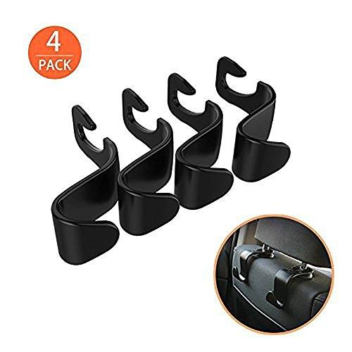 4Pack Car Vehicle Back Seat Headrest Organizer Hanger Storage Hook for Groceries Bag Handbag
