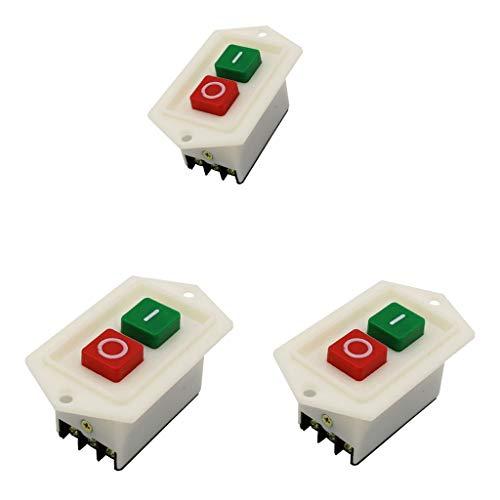 Amuzocity Interruptor de Presión de Taladro de 3 Piezas Interruptor de Encendido/Apagado Interruptor de Presión de Arranque LC310 AC 220 / 380V 10A