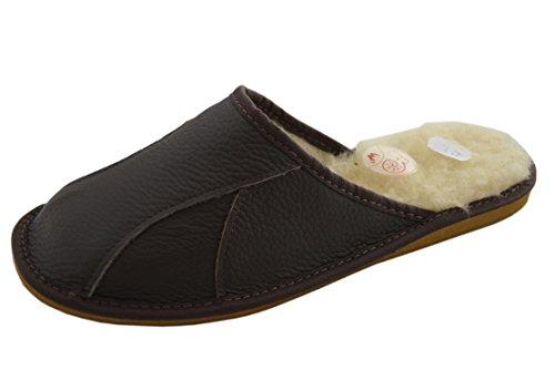 Natleat Slippers Mens Slippers 146 - Zapatillas de estar por casa de Piel para hombre Negro Brown / white wool