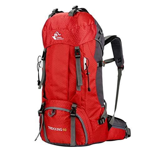 SM SunniMix 60L Camping Hiking Backpack Molle Rucksack Waterproof Traveling Daypack with Multi pockets, waist bag, adjustable padded breathable shoulder straps - Red