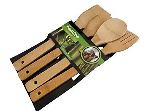 Set Utensilios Bambú Cocina Madera Espátula Pack 4 Cubiertos