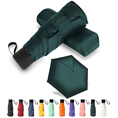 GAOYAING Mini Travel Umbrella Sun&Rain Lightweight Small and Compact Suit for Pocket Parasol with 99% UV Protection for Women Men Kids Dark Green