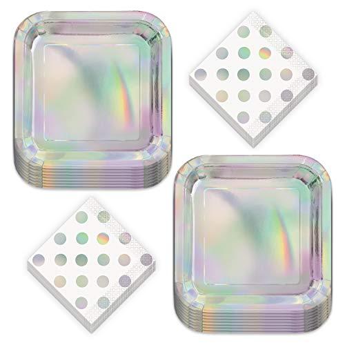 Iridescent Party Supplies - Metallic Rainbow Paper Dessert Plates and Polka Dot Beverage Napkins (Serves 16)