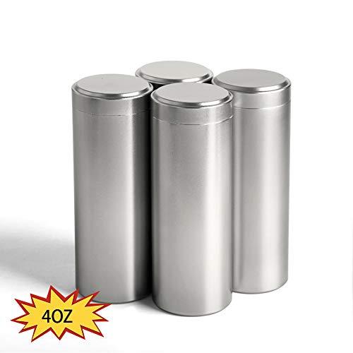 Teedose, luftdicht, geruchsdicht, langlebig, vielseitig verwendbar, aus Metall, Kräuterbehälter, wasserdichter Aluminium-Schraubverschluss, Geruchsverschluss 4PC/4OZ silber