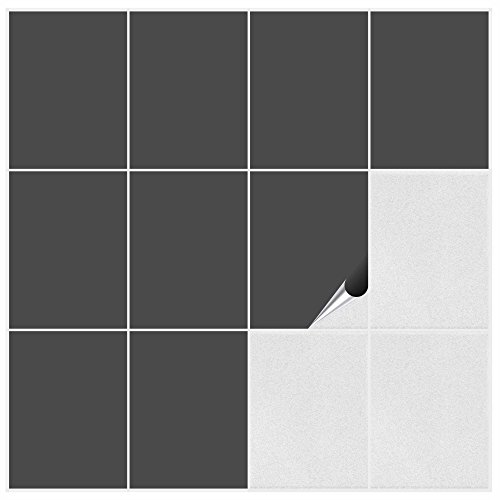 FoLIESEN Fliesenaufkleber Küche u. Bad-15x20 cm matt-10, PVC, Dunkelgrau matt, 10 Stück, Einheiten