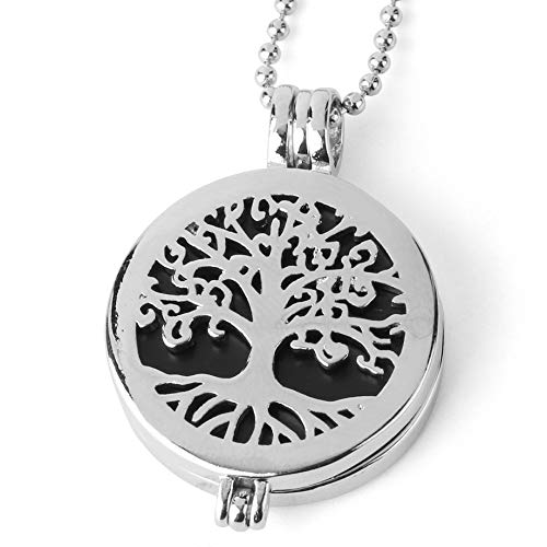 YOUHU Crystal Pendant Necklace,7 Chakra Crystal Necklaces Hollow Tree Of Life Locket Natural Rose Quartz Aromatherapy Diffuser Pendant Spiritual Jewelry Unisex Gift,Black Onyx