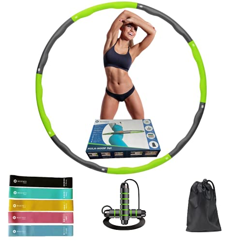 MAXIMIO Sports - Fitness Set Grün, Hula Hoop Reifen Erwachsene, Hula Hoop Set, 8 Abnehmbare Segmente, Springseil, 5 Widerstands-/ Fitnessbänder, Tragetasche