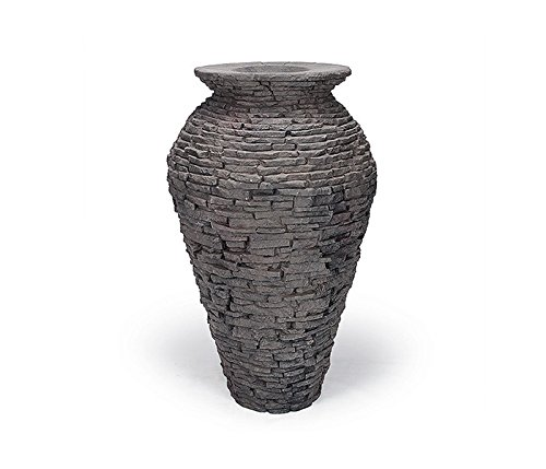 Aquascape 78207 Medium Stacked Slate Urn Fountain for Landscape and Gardens, 45 Inches Tall