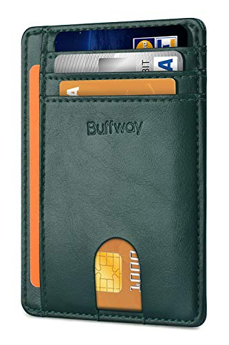 Buffway Slim Minimalist Front Pocket RFID Blocking Leather Wallets for Men Women - Alaska Green