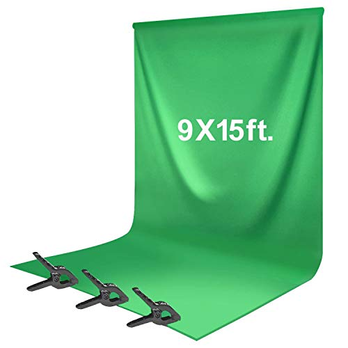 LS LIMO STUDIO LIMOSTUDIO, VAGG1777, Green Chroma Key Background Screen, Soft and Seamless Silk Texture Backdrop Muslin with Spring Clamp, Photography Chromakey Studio (9 x 15 feet, Green)