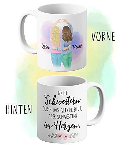 Art Shipper Individuelle Freundinnen Tasse - Namen und Aussehen personalisiert - schönes Geschenk für die Beste Freundin