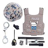 Macium 9 Piezas Policía Disfraz Niño con Policía Equipo Policía Chaleco Gorra Placa Policía Esposas Gafas de Sol Walkie Talkie Policía Juguete Kit para Niños