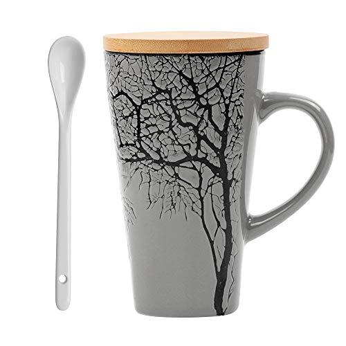 MUXUE Große Teetassen 500ml, Handgemachte Kaffee Tee Tassen mit Deckel und Löffel, Kreativer Keramik Teebecher als Geschenke für Freunden und Familien (Grau)