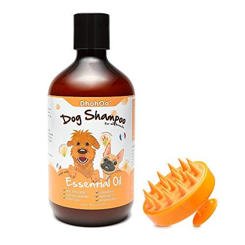 Dhohoo Hundeshampoo für Allergien und Juckreiz mit ätherischem Öl, natürliche Inhaltsstoffe, Welpen-Shampoo für stinkende Hunde, trockene Haut, gesundes Haarwachstum. (473ml+Bürste)