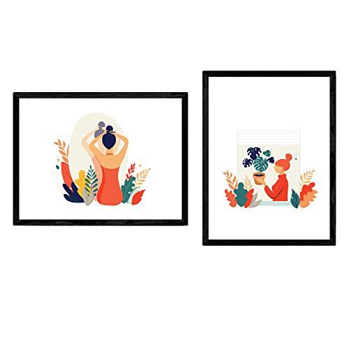 Pak posters in met fotos van vrouwen thuis. Vrouw met planten en spiegel. A3 vellen