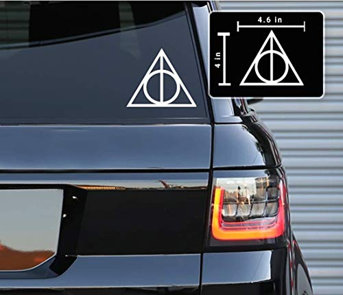 Printbeat Deadly Hallows Inspired Vinyl Decals Bumper Stickers for Cars, Van, Trucks, Laptop (White, 4' x 4.6')