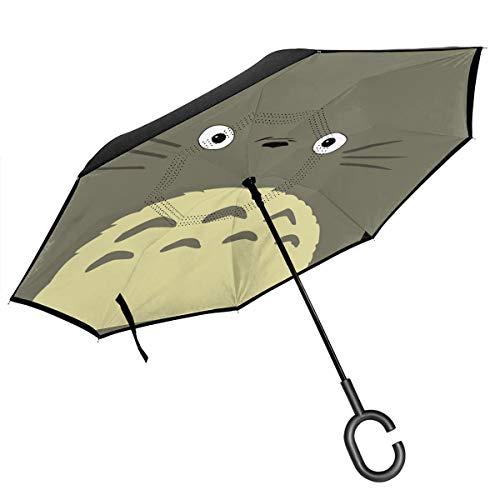 ScDJrock Totoro 2 Inverted Umbrella Self Standing Inside Out Regenschutz-Regenschirm Mit C-förmigem Handgriff Für Reisen Und Auto