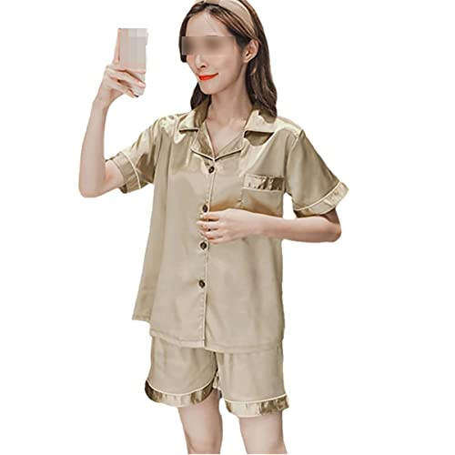 Conjunto de pijama de satén de seda para mujer de dos piezas para el hogar, más tamaño ST champán 4XL