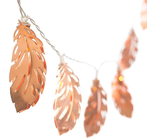 9.8FT/20 LED Rose Gold Feather LED Fairy Lights Metal Lantern String Lights Warm White Battery Powered Hanging Light for ins Gril Room Wedding Party Decor (Gold Feather, Battery Powered)