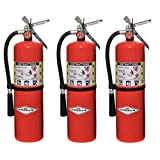 Amerex 10 Pound Stored Pressure ABC Dry Chemical 4A:80B:C Steel Multi-Purpose Fire Extinguisher For Class A, B And C Fires With Anodized Aluminum Valve, Wall Bracket, Hose And Nozzle (3 Pack)