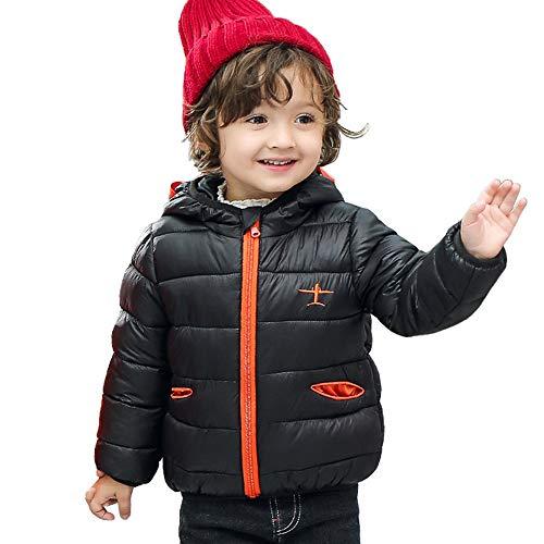 Mamum Manteau BéBé Garcon Fille 0-5 Ans a Capuche Hiver ÉPaissie Coton Chaud Veste Pas Cher Parka Doudoune Blousons Enfant Sweater (noir, 140(4-5Ans))