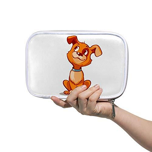 Estuche para lápices de Chehong con diseño de perro carlino en color rojo, gran capacidad para lápices, neceser de cosméticos con cremallera para mujeres estudiantes, 14 x 23 cm, color Color2. 5.5x9 inch
