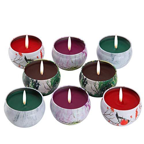 Juego de regalo de vela perfumadas - lavanda, rosa, árbol de té y hierbabuena, la cera de la soja...