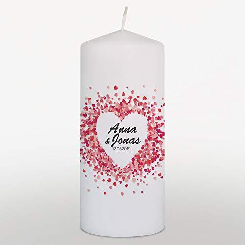 WEDDNG Hochzeitskerze mit Namen und Datum, Traukerze Hochzeit Herzen Rot