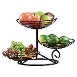 KAYBELE Fruit Bowl 3 Nivel Mesa de Metal Decoración Fruta Cesta Cocina Encimera Titular de Pantalla para Pastel De Fruta Snack, Oro (Color : Black)