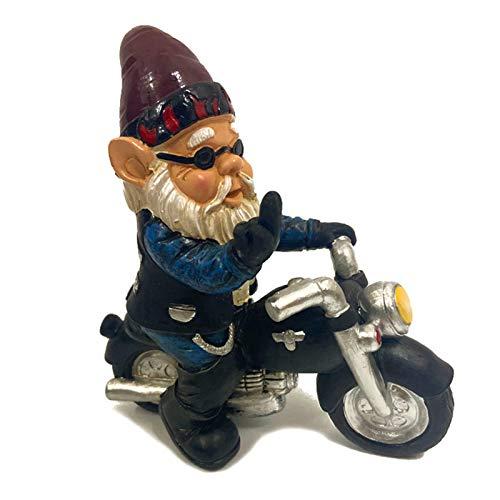 Somedays Deko Gartenzwerg Motorrad für den Garten, Gartenzwerg Statue Ornament Geschenk, Dekoration für die Terasse, Deko für den Balkon