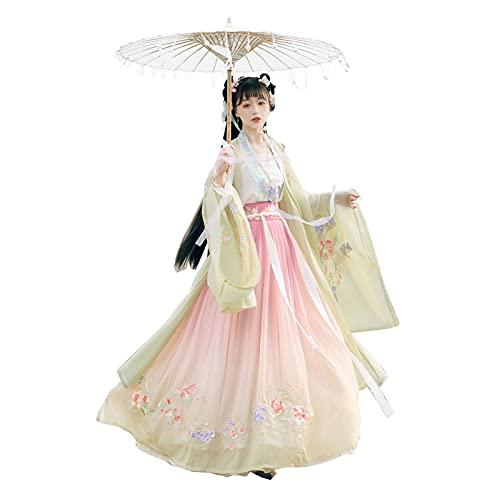 YANLINA Hanfu Vestido Chino Hanfu Para Mujeres Traje Tradicional Chino Antiguo Falda Fluida Para Cosplay Halloween Navidad (Color : Green, Tamao : S)