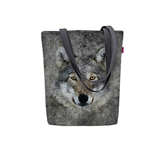 barabike B-TONI SUNNY Damen Tasche Damentasche Segeltuchtasche Tiermuster viele Muster (Lupo)