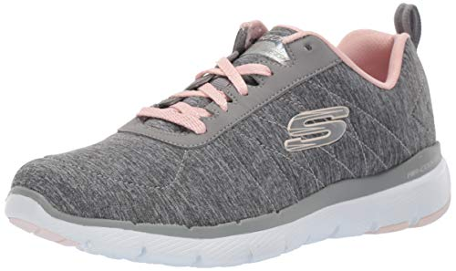 Skechers Flex Appeal 3.0-Insiders, Zapatillas Mujer, Multicolor (GYLP Black & Gray Mesh/Black Trim), 39 EU