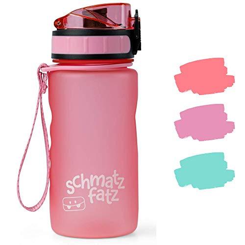 schmatzfatz auslaufsichere Sport Trinkflasche Kinder, BPA frei, 350ml, Fruchteinsatz, 1-klick Verschluss, Kinder Trinkflasche für Schule Kindergarten (Rosa)