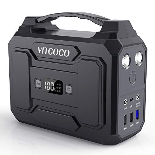 ポータブル電源 100W VITCOCO 45000mAh/167Wh 家庭アウトドア両用蓄電池 PSE認証済み 液晶大画面表示 三つの充電方法 AC(100W) DC(120W) USB出力 急速充電QC3.0 防災グッズ 地震 停電時に 非常用電源 車