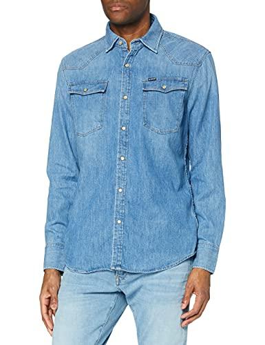 G-Star Raw 3301 Slim Shirt Camisa vaquera, Azul (Medium Aged 071), X-Small para Hombre