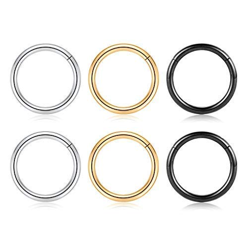 GAGABODY 20G 18G 16G 6 Pcs a Set Septum Jewelry Conch Piercing Jewelry 316L Surgical Steel Nose Hoop Lip Septum Rings Nose Piercing Helix Cartilage Earrings 3 Color Mix