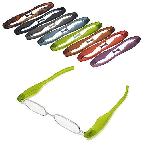 【ポッドリーダー スマート】超軽量 コンパクトな折りたたみ式 老眼鏡 8色 +1.0~+3.0 胸ポケットに入るサイズ Podreader (+2.0, グリーン)