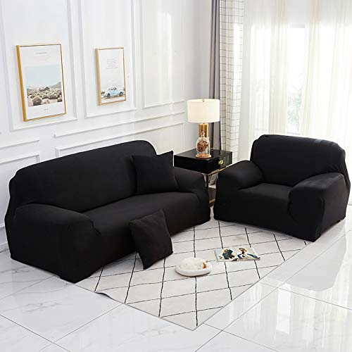 Funda de sofá elástica elástica 1/2/3/4 plazas Fundas de sofá para sofás universales Funda seccional en Forma de L Negro 235-300CM