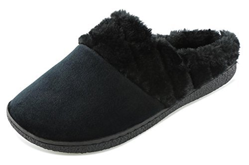 Floopi Women's Memory Foam Slippers Deluxe Clog Scuff/Mule House Slip-Ons for Indoor & Outdoor Use| Warm & Fuzzy w/Velour Fur Lining, Quilted Collar Slipper & Anti-Skid Hard Sole